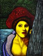 Glass Glass Art Originals - Lady Of The Forest by Valerie Lynn