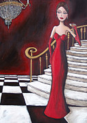 Staircase Painting Posters - Lady of the House Poster by Denise Daffara