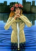 Myth Pastels Prints - Lady of the Lake Print by Sue Halstenberg
