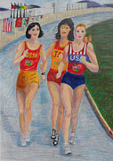 Jogging Drawings Posters - Lady Olympians Poster by Julie Brugh Riffey