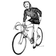 Single Drawings - Lady On A Bicycle by Karl Addison