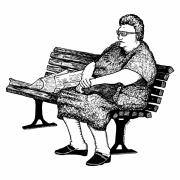 Lady Artwork Drawings Prints - Lady On Bench Print by Karl Addison