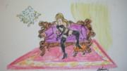 Red Carpet Pastels Prints - Lady on purple loveseat Print by Marcia Nebera  Edwards