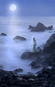 Moonlit Night Photos - Lady on Rocky Seashore in the Moonlight by Jill Battaglia