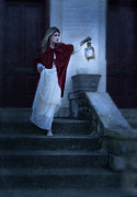 Scared Framed Prints - Lady on Stairs with Lantern Framed Print by Jill Battaglia