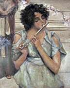 Donna Tucker Art - Lady Playing Flute by Donna Tucker