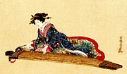Padre Art Framed Prints - Lady Playing Koto 1878 Framed Print by Padre Art