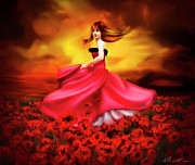 Long Dress Acrylic Prints - Lady Poppy Acrylic Print by Svetlana Sewell