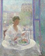 French Open Paintings - Lady Reading at an Open Window  by Clementine Helene Dufau