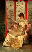 Room Interior Framed Prints - Lady Reading Framed Print by Joseph Frederick Charles Soulacroix