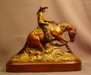 Equine Sculpture Sculptures - Lady Reiner bronze sculpture of woman on reining horse in a sliding stop by Kim Corpany