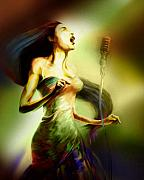 Jazz Artwork Painting Originals - Lady Sings the Blues by Mike Massengale
