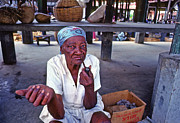 Jacmel;haiti Art - Lady smoking pipe by Johnny Sandaire