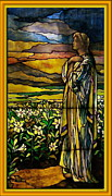 Fine American Art Glass Art Framed Prints - Lady Stained Glass Window Framed Print by Thomas Woolworth