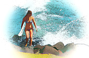 Para Surfing Posters - Lady Surfie Poster by Star Ship