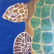 Green Sea Turtle Paintings - Lady Turtle by Bonnie Schwerd