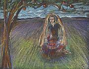 Jewish Pastels - Lady under a tree by Laurie Parker