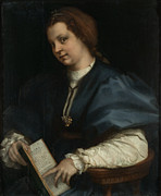 Gown Paintings - Lady with a Book of Petrarchs Rhyme by Andrea Del Sarto