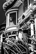 Alamo Square Framed Prints - Lady with a flower ll - black and white Framed Print by Hideaki Sakurai