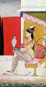 Hookah Painting Posters - Lady with a Hawk Poster by Guler School