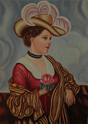 Choker Painting Prints - Lady with a Pink Rose Print by Margit Armbrust