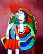 Cubism Posters - Lady With A Red Hat Poster by Anthony Falbo