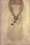 Holding Flower Posters - Lady with a rose Poster by Joana Kruse