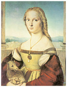 Unicorn Art Paintings - Lady With a Unicorn by Raffaello Sanzio