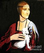 Chapeaux Paintings - Lady with an ermine  dama con ermellino by Patty Meotti
