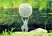Wire Sculpture Sculptures - Lady with Ball by Tommy  Urbans