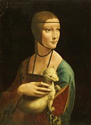 Reproduction Metal Prints - Lady With Ermine Metal Print by Pg Reproductions