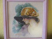Picture Tapestries - Textiles Originals - Lady With Hat 1 by Veselina Simeonova