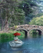 Waiting Girl Posters - Lady with Parasol in Boat Poster by Jill Battaglia