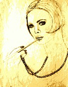 60s Drawings - Lady with Pearl Necklace by Sheri Parris