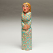 People Sculpture Prints - Lady with the Blue Dress on Print by James Neill