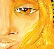 Movie Art Paintings - Lady With Yellow Eye by Patty Meotti