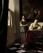 Jan Vermeer Paintings - Lady writing a letter with her Maid by Jan Vermeer