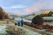 Walking The Dog Prints - Ladybower Reservoir - Derbyshire Print by Trevor Neal