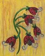 Drippy Painting Prints - Ladybug Flowers Print by Kristen Fagan
