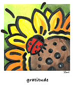 Gratitude Framed Prints - Ladybug Gratitude Framed Print by Renee Womack
