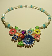 Blue Flowers Jewelry - LadyBug Love  by Jenna Green
