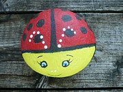 Cute Sculpture Prints - Ladybug Print by Monika Dickson