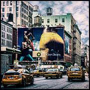 Nyc Taxi Framed Prints - Lafayette and Houston NYC Framed Print by Chris Lord