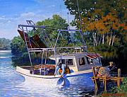 Pier Paintings - Lafitte Skiff by Kevin Lawrence Leveque