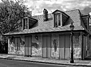 Kathleen K Parker Metal Prints - Lafittes Blacksmith Shop Bar in black and white Metal Print by Kathleen K Parker