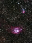 Reflection Nebula Posters - Lagoon (m8) And Trifid (m20) Nebulae Poster by Eckhard Slawik