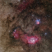 Barnard Posters - Lagoon Nebula And Trifid Nebula Poster by Phillip Jones
