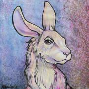 Rabbit Mixed Media Prints - Lagos the Noble Hare Print by Karon Melillo DeVega