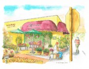 Watercolor Landscapes Posters - Laguna-Beach-CA-Flower-Shop Poster by Carlos G Groppa