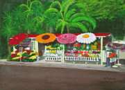 Laguna Beach Paintings - Laguna Beach Flower Stand by Mike Robles